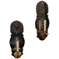 Wonderful Pair Etched Floral Mirror Back Single Light Bronze Caldwell Sconces