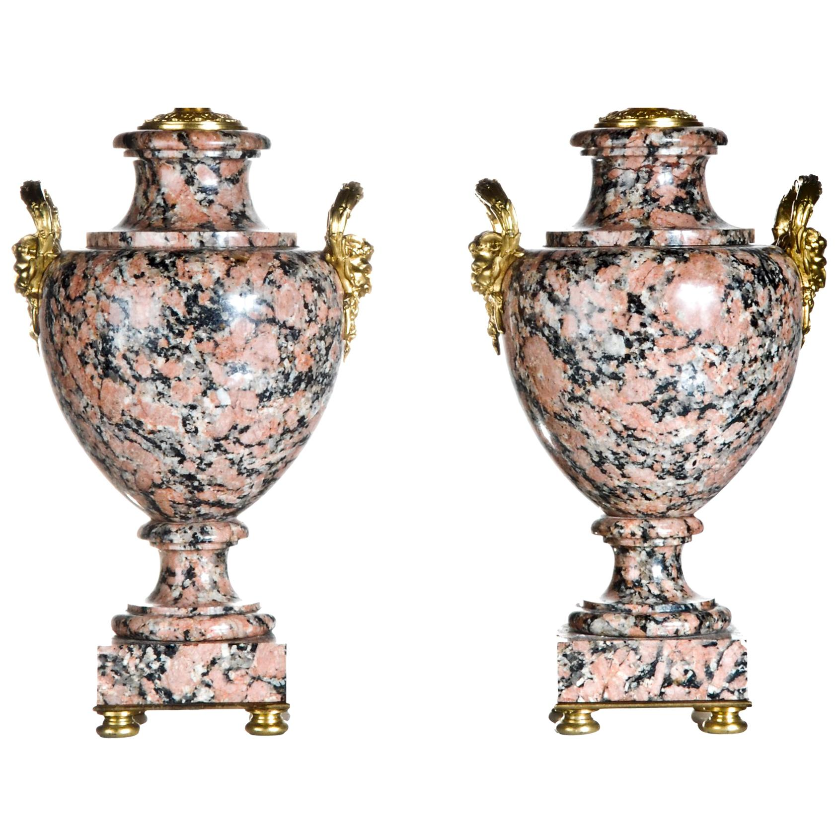 Pair of French Louis XVI Style Urn Form Gilt Bronze Mounted Granite Lamps