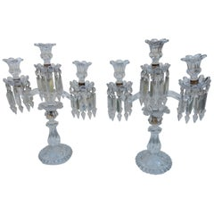 1950 Pair of Baccarat Crystal Chandeliers with 2 Arms and Signed Baccarat