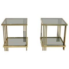 Pair of Extraordinary Graphical Brass and Glass Side Tables, France 1970s