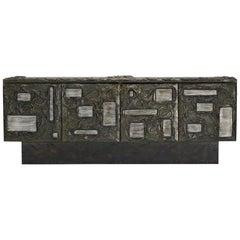 Paul Evans Brutalist Sculpted Bronze Cabinet