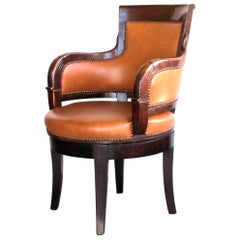 Rare and Handsome French Empire Walnut Leather-Upholstered Swivel Desk Chair