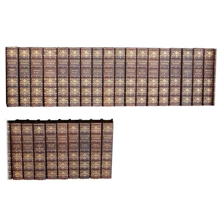 Books, Charles Dickens Complete Writings, Leather-Bound Antique Collection Set For Sale
