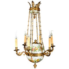 Fine Antique French Charles X Style Gilt Bronze and White Opaline Chandelier