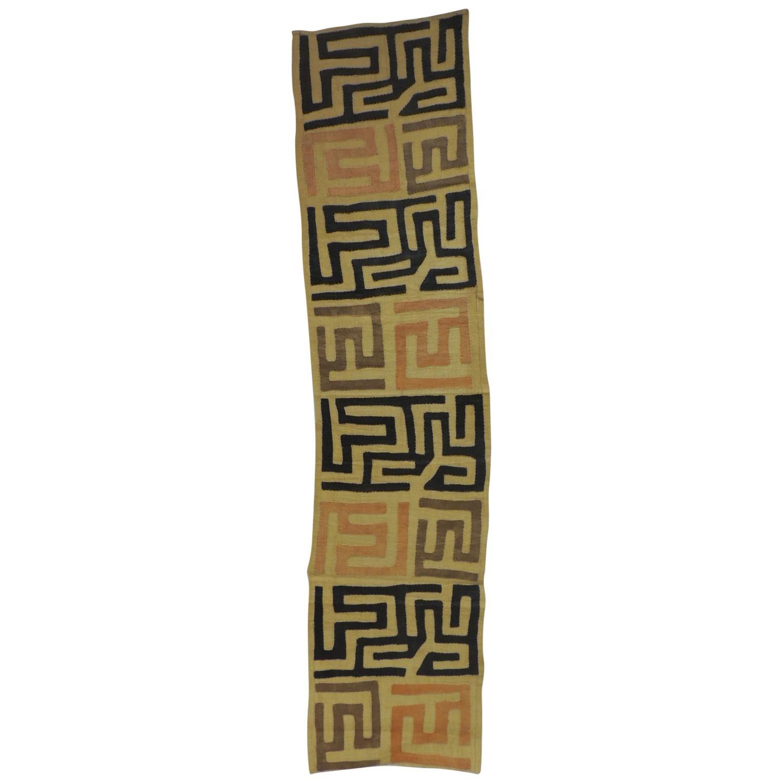 Vintage Brown and Black Earth Tones African Applique Kuba Textile