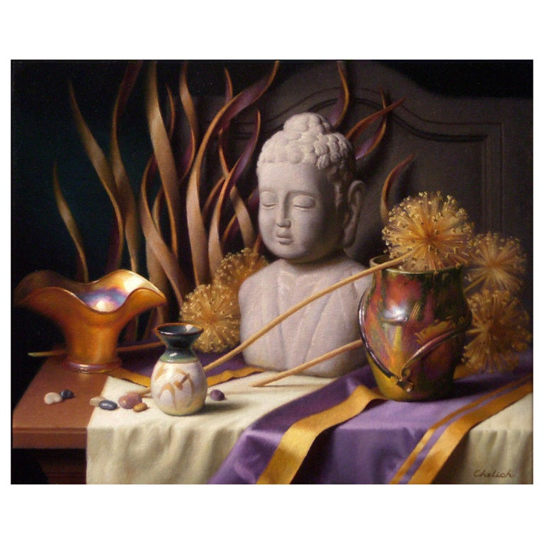 Still Life with Buddha, Original Oil Painting on Canvas by Michael Chelich For Sale