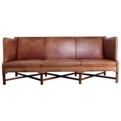 Kaare Klint Sofa Model 4118 in Mahogany and Patinated Leather