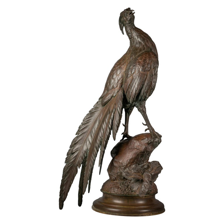 Large French Bronze Pheasant, by Ferdinand Pautrot For Sale