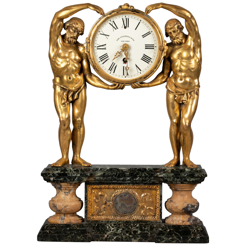 American Gilt Bronze and Marble Figural Clock, E.F. Caldwell, circa 1900