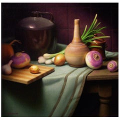 Still Life with Turnips, Original Oil Painting on Canvas by Michael Chelich