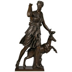 Large French Bronze Sculpture of Diana and Stag, circa 1820