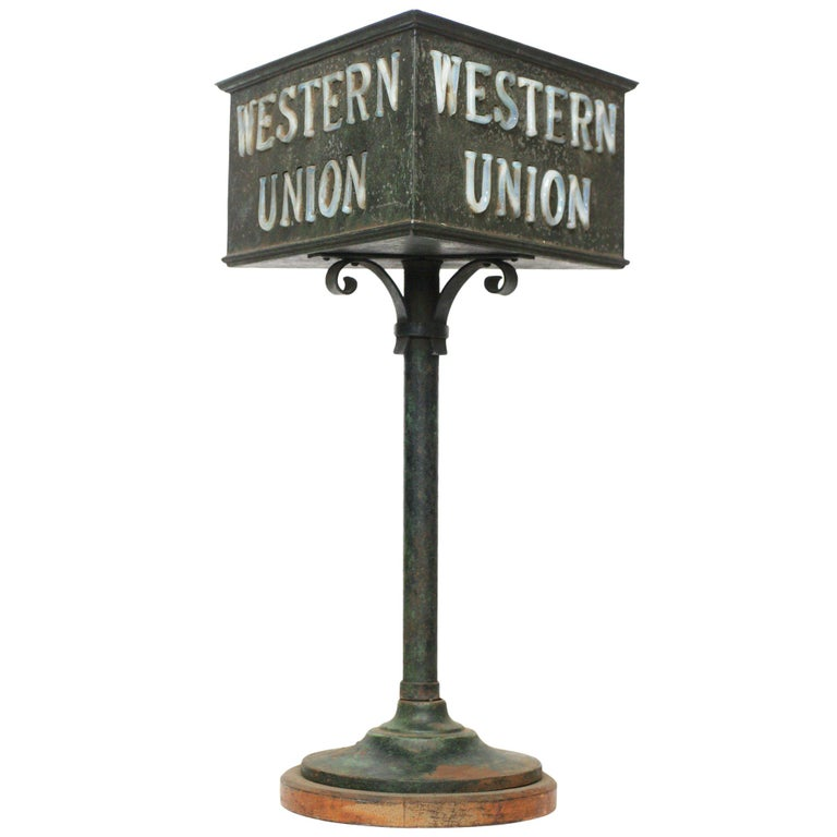 Antique Western Union Lighted Counter Sign For Sale At 1stdibs