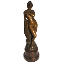 Diminutive Patinated Female Nude Bronze Signed Gladendeck