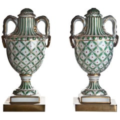 Pair of French Sevres Style Neoclassical Green & Gilt Porcelain Urn Form Lamps