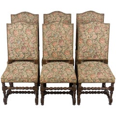 Set of Six French Tall Back Upholstered Dining Room Chairs