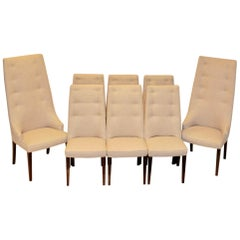 Set of 8 Midcentury High-Backed Dining Chairs from Denmark