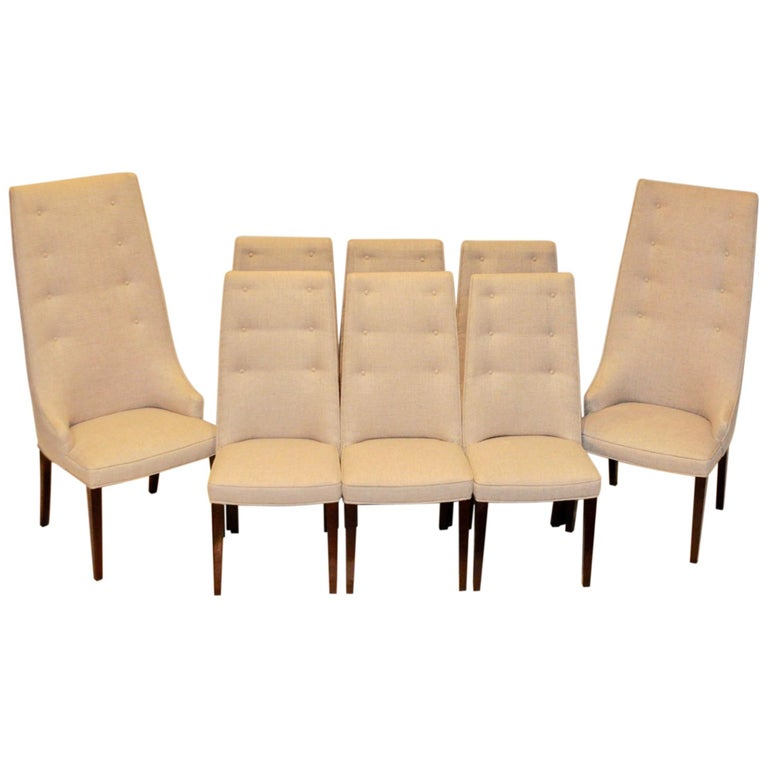 Set of 8 Midcentury High-Backed Dining Chairs from Denmark For Sale