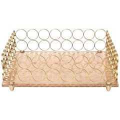 Italian Brass and Caned Circle Square Tray Barware