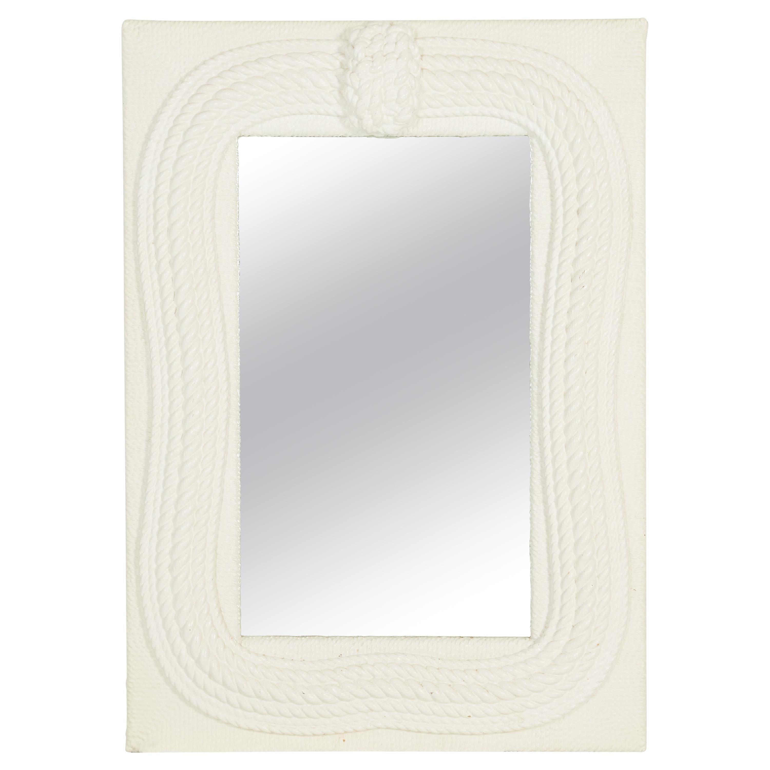 Nautical Lacquered Maritime Mirror, Braided Knotted Rope
