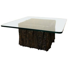 Glass and Bronze Brutalist Coffee Table by Paul Evans