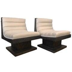 Paul Evans Brutalist Sculpted Bronze Lounge Chairs