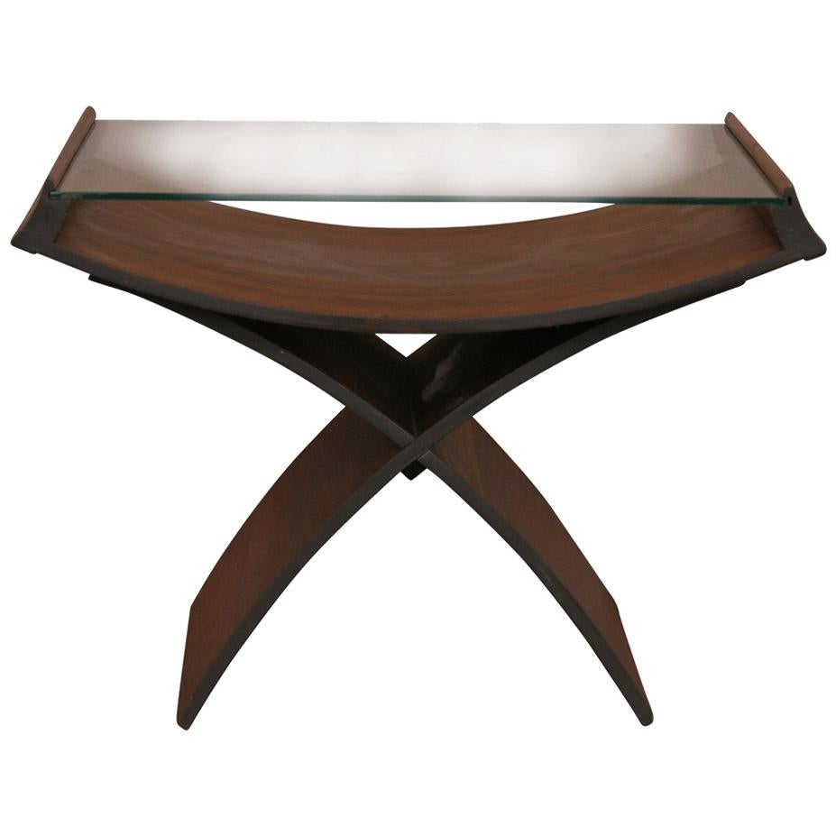 Midcentury Molded Plywood Side Table with Glass Top