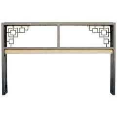 "Black and Gold ""Prairie"" Style Console Table"