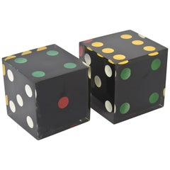 Lucite Sculptural Dice Pair Of