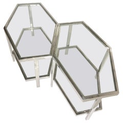 Pair of Chrome and Glass Hexagonal Two-Tier Side Tables