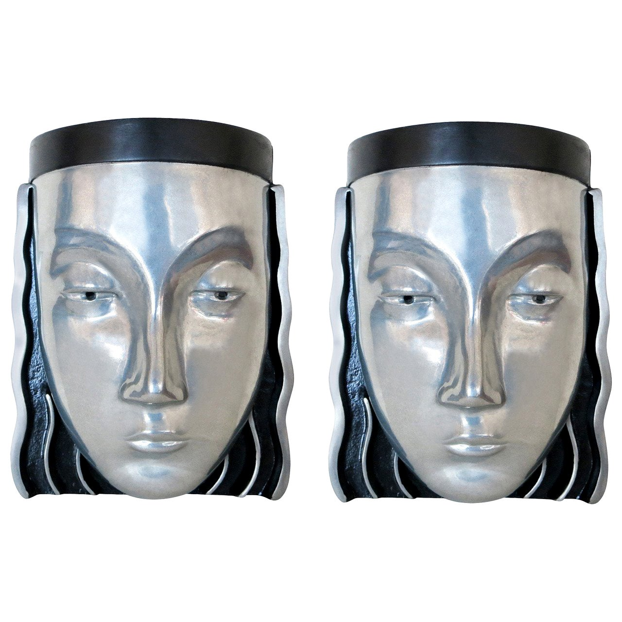 Art Deco Style Female Face Mask Wall Sconce
