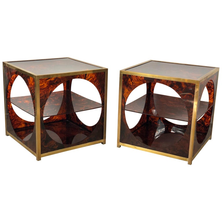 French Tortoiseshell Brass Coffee Side Tables in Christian Dior Style, 1970s For Sale