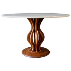 Travertine and Sculpted Walnut Dining or Bistro Table, circa 1970