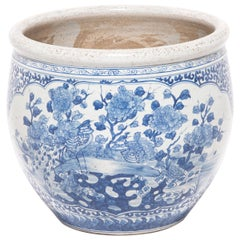 """""""Lovebirds"""" Chinese Blue and White Fish Bowl"""
