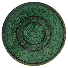 Antique Tibetan Black and Green Earthenware Wall Charger