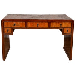 Vintage Handmade Desk Found in Northern Thailand with Five Drawers, circa 1950