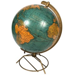 Cram's Illuminated Light Up Glass Terrestrial Globe, circa 1950s