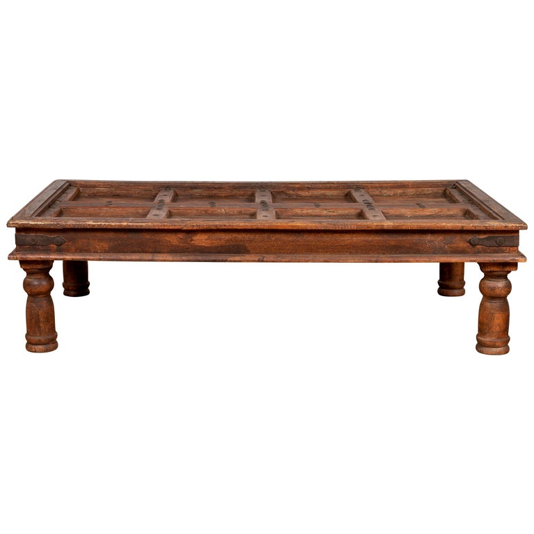 Marvelous Antique Sheesham Wood Indian Palace Door Made Into Coffee Table With Iron Studs Caraccident5 Cool Chair Designs And Ideas Caraccident5Info