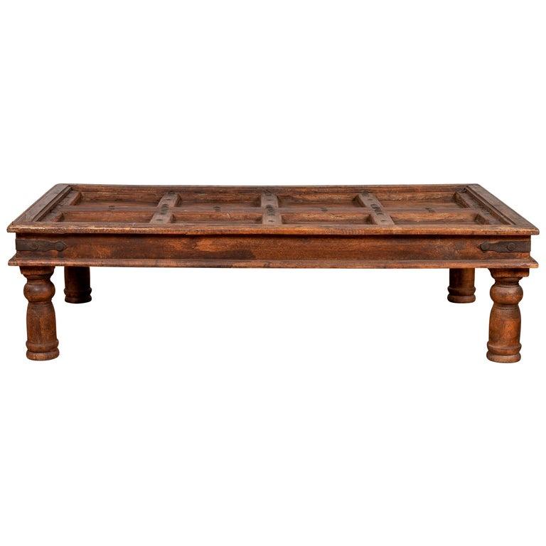Remarkable Antique Sheesham Wood Indian Palace Door Made Into Coffee Table With Iron Studs Inzonedesignstudio Interior Chair Design Inzonedesignstudiocom