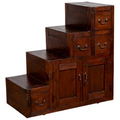Vintage Javanese Staircase Tansu in Japanese Style with Four Drawers and Doors