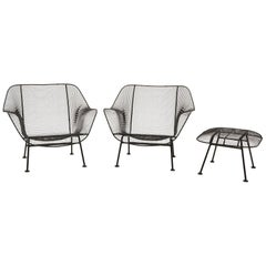 Pair of Sculptura Outdoor Lounge Chairs and Ottoman by Russell Woodard, Restored