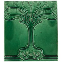 Art Nouveau Emerald Green Glazed Tree Ceramic Tile