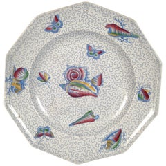 Staffordshire Sea Shell and Butterfly Plate, circa 1820-1830