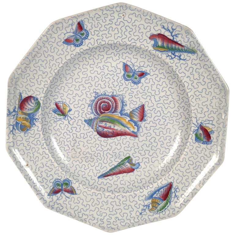 Staffordshire Sea Shell and Butterfly Plate, circa 1820-1830 For Sale