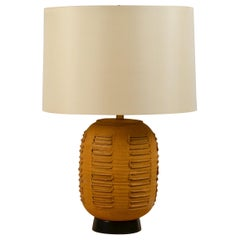 Large Textured Stoneware Lamp with Custom Silk Drum Shade by Bob Kinzie