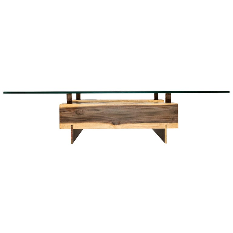 Customizable Blue Mahoe And Brass Base Low Coffee Table