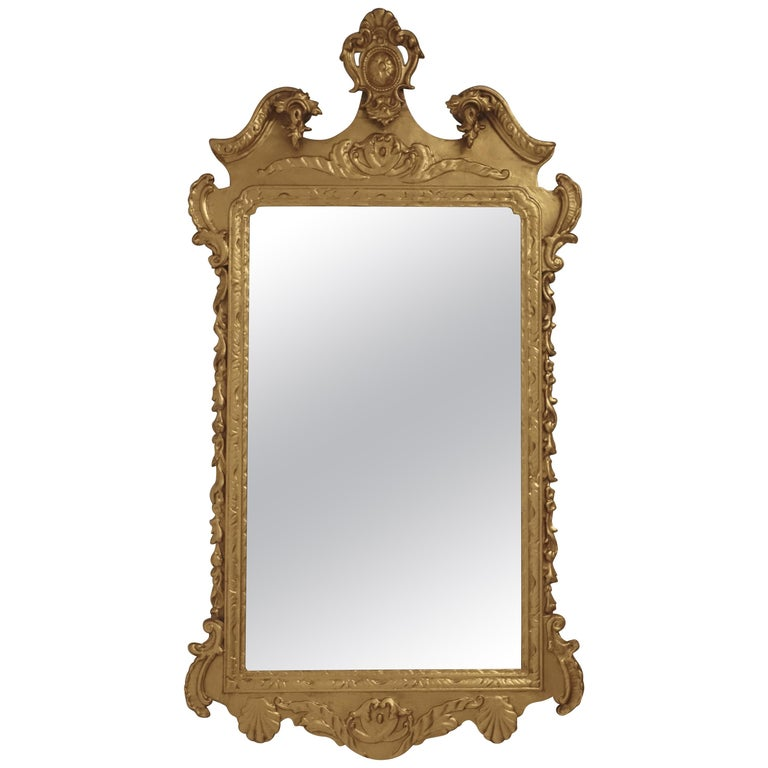 19th Century English Georgian Style Gilt Wood over Mantle Mirror  For Sale