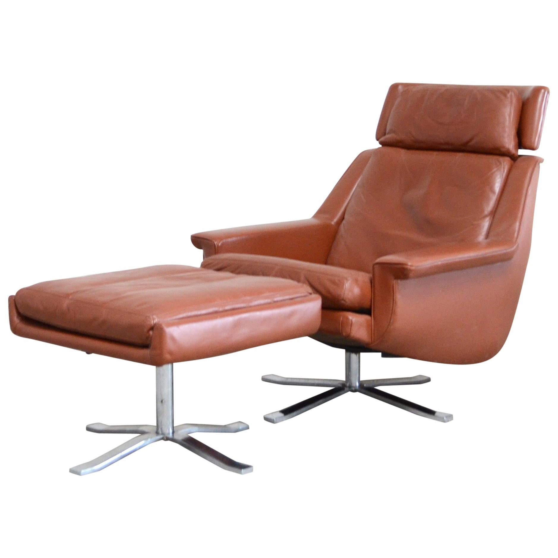 Esa Model 802 Leather Danish Lounge Chair & Ottoman by Werner Langenfeld, 1960