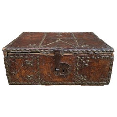 17th Century Italian Leather Trunk