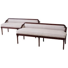 Pair of Neoclassical Style Bench Settees