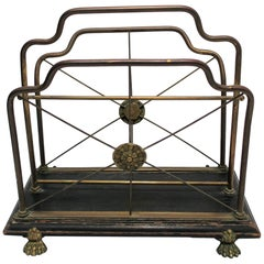 Regency Brass and Black Lacquer Magazine Rack